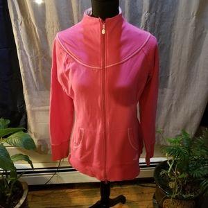 North Face pink full zip funnel neck sweatshirt